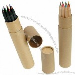 Black / Natural Wood 6 Color Pencil With Paper Tube