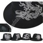 Black New Constructed Trilby Fedora Spangled Hat Cap