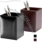 Black - Pencil cup with bonded leather, felt interior lining.