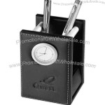 Black premier leather pencil cup with clock