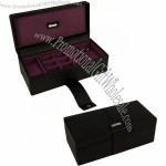 Black & Purple Park Lane Watch & Cufflink Box