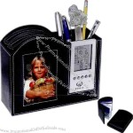 Black simulated leather frame / clock / desk organizer with temperature display.