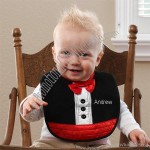 Black Tuxedo Embroidered Bib for Boy Baby