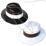 Black & White Plastic Costume Party Gangster Fedora Hat