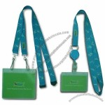 Blue ID Card Holder/Badge Reel Lanyard with Safety Buckle + Rotatable J Hook