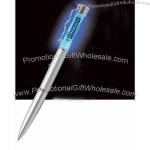 Blue spiral light up pen with black ink color.
