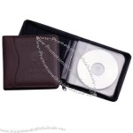 Bonded leather compact disc zippered case with padded cover and moire lined.
