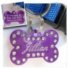 Bone Shaped Swarovski Crystal Dog Tags - Anodized Aluminum