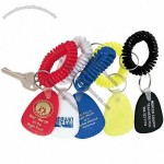 Bracelet coil key chain with plastic tag