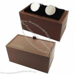 Brown Leather Cufflink Boxes