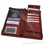 Brown Leather Passport Holder Ticket Organizer Wallet