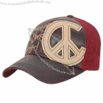 Brown PU Leather Baseball Cap with Embroidery Applique on Front and Metal Closure at Back