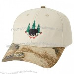 Brushed Cotton Twill Cap w/Camouflage Top Button