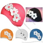 Bubble Crepe Cap with Flowers Swim Cap