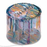 Bucket Tin Box with Clear PVC, Suitable for Food, Chocolate, Candy, Coffee, Tea and Cosmetic