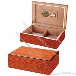 Burl Inlay Cigar Humidor Case with Warm Mahogany Finish, Humidifier Included