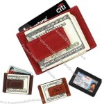 Business leather magnetic money clip travel wallet with I.D. window