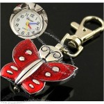 Butterfly Shape Round Dial Watch Lobster Clasp Key Ring(1)