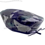 Camouflage cotton rip stop fabric beret with black ribbon tie.