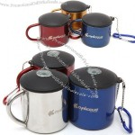 Camping Stainless Steel Mug with Carabiner and Compass Lid