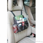 Car Front-seat Organizer with Mesh Side Pocket and Tissue Holder