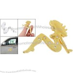 Car Rhinestone Inlaid Lady Shaped Metal Gold Tone 3D Sticker Decor