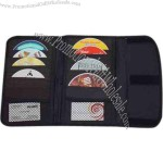 Car visor CD holder with 2 mesh pouch, holds 24 CDs.