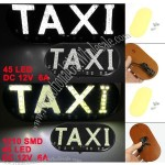 Car Windscreen Cab Sign White 1210 SMD 45 LED Taxi Light Lamp DC 12V