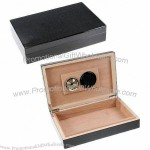 Carbon Fiber Cigar Humidor Box with Satiny Black Finish, Humidifier and Hygrometer Included