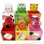 Cartoon pencil holder with note clip.