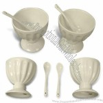 Ceramic Ice Cream Cup with Spoons