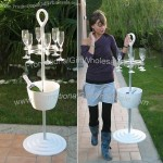 Champagne Wine Stand with Goblets Rack and Handle