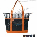 Charcoal Striped 600D Polyester Tote Bag