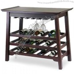 Chinois Console Wine Table with Stemware Rack