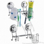 Chrome Bathroom Rack With Powerful Suction Cups