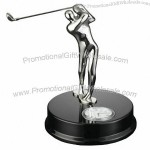 Chrome Golfer Gift with Clock