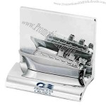 Chrome metal business card holder.