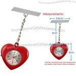 Chrome Red Heart Head Nurse Watch with Brooch Pin & Spare Battery