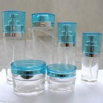 Clear Lotion Bottles with Blue Cap