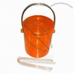 Clear Plastic Ice Bucket with Tongs
