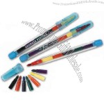 """Clear plastic """"pen"""" with seven crayon tips"""