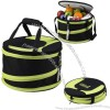 Collapsible picnic cooler with carry straps.