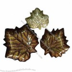 Color Glass Plate In Leaves Shape