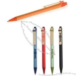 Colored recycled paper pen with bamboo clip and recycled plastic trim.