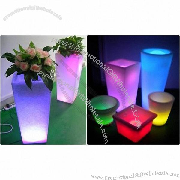 Colorful Beautiful Decorative Plastic Led Flower Square Pot Vase