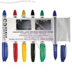 Combination ballpoint and pullout ad sheet pen.