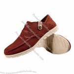 Comfortable Men's Casual Shoes, Made of Leather Upper/Rubber Outsole