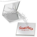 Compact mirror square brushed aluminum.