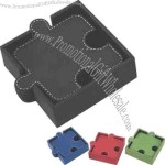Connectible puzzle shape leatherette 6 piece coaster set with holder
