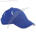 Cool & dry performance 6-panel polyester cap with contrast roll-up underbill,